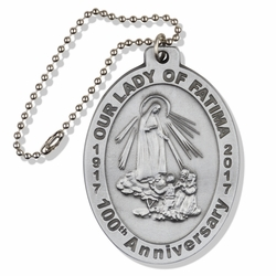2-5/8 x 1-7/8 Inch Oval Pewter Our Lady of Fatima Auto Mirror Medal
