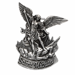 2-5/8 x 2-1/8 Inch Pewter St. Michael, Patron of Police Visor Clip