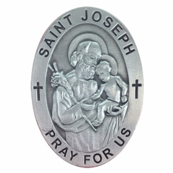 2 Inch Pewter Oval St. Joseph, Patron of Carpenters/Workers Visor Clip