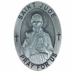 2 Inch Pewter Oval St. Jude, Patron of Hopeless Causes Visor Clip