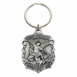 2 x 1-1/2 Inch Pewter Shield St. Michael, Patron Saint of Police Officers Key Chain