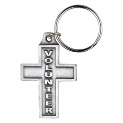 2 x 1-1/2 Inch Pewter Volunteer Cross Key Chain