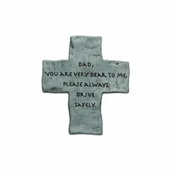 "2 x 1-3/4 Inch Pewter Dad ""Drive Safely"" Cross Visor Clip"