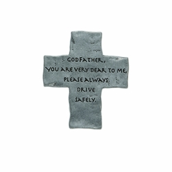 "2 x 1-3/4 Inch Pewter Godfather ""Drive Safely"" Cross Visor Clip"