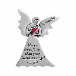"2 x 1-5/8 Inch Pewter Godmother ""Never Drive Faster Than Your Guardian Angel""  Visor Clip"