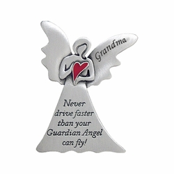 "2 x 1-5/8 Inch Pewter Grandma ""Never Drive Faster Than Your Guardian Angel""  Visor Clip"