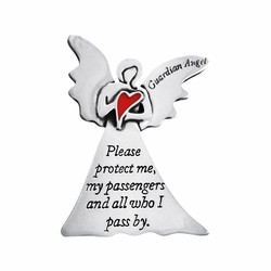 """2 x 1-5/8 Inch Pewter Guardian Angel """"Please Protect Me"""" Visor Clip"""