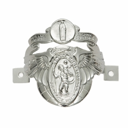 2 x 2 Inch Curved Silver Metal Angel Winged Miraculous and St. Christopher, Patron of Travelers Biker Clip