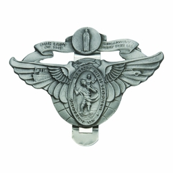 2 x 3 Inch Pewter Winged St. Christopher and Miraculous Mary Visor Clip