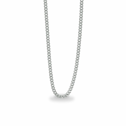 20 Inch Stainless Steel Rhodium Plated Curb Necklace Chain Carded