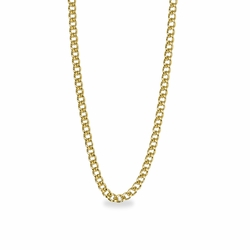 24 Inch Stainless Steel 14K Gold Plated Curb Necklace Chain Carded
