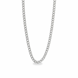 24 Inch Stainless Steel Rhodium Plated Curb Necklace Chain Carded