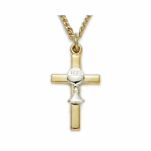 24K Gold over Sterling Silver 2-Tone Cross Necklace with Chalice