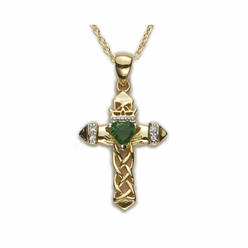 24K Gold Over Sterling Silver Claddagh Cross with Green Emerald