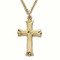 1 Inch 14K Gold Over Sterling Silver Budded Ends Cross Necklace