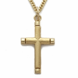 24K Gold over Sterling Silver Cross Necklace in a Bright Ends Design