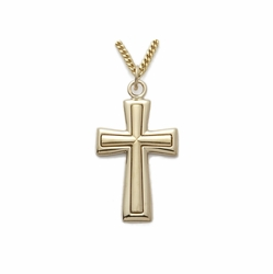 24K Gold over Sterling Silver Cross Necklace  in a Flared Design and Satin Inner Finish