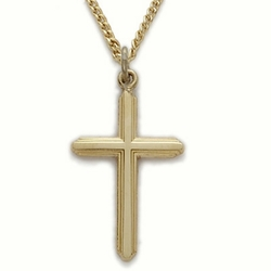 24K Gold Over Sterling Silver Cross Necklace in a Polished Finish and Line Design