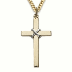 24K Gold over Sterling Silver Cross Necklace in a Rope Centered Design