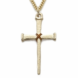 24K Gold over Sterling Silver Cross Necklace in a Rope Centered Nail Design
