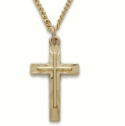 7/8 Inch 14K Gold Over Sterling Silver Cross on Cross Necklace