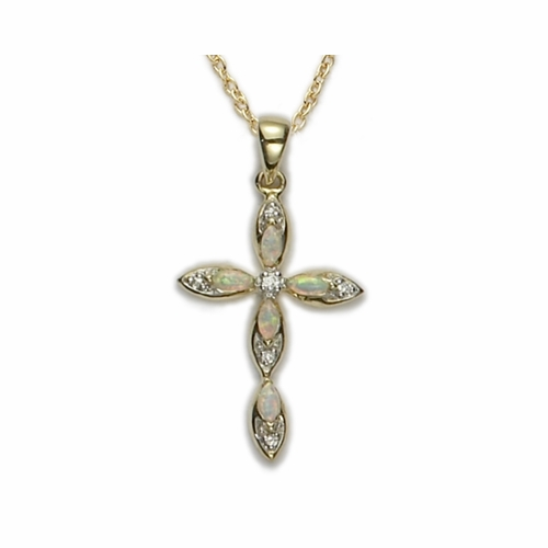 24K Gold Over Sterling Silver Cross Necklace with Inlaid Opals and Crystal Accents