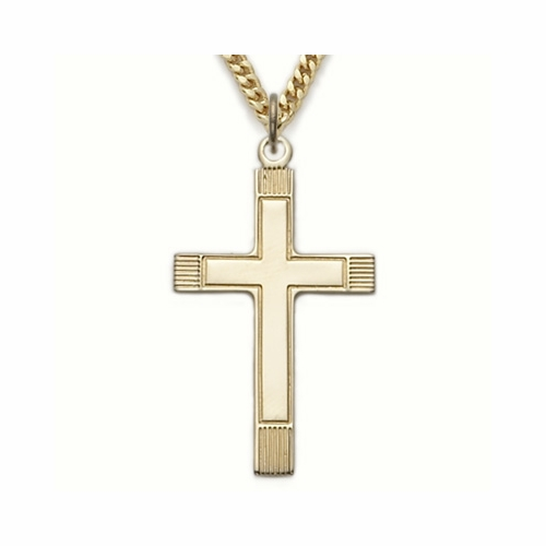 24K Gold over Sterling Silver Cross Necklace with Inner Cross
