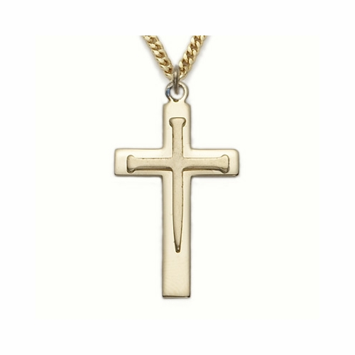 24K Gold Over Sterling Silver Cross Necklace  with Inner Nail Cross