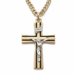 24K Gold Over Sterling Silver  Crucifix Necklace in a 2-Tone and Black Enameled Design