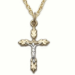 24K Gold Over Sterling Silver Crucifix Necklace in a 2-Tone Wheat Ends Design