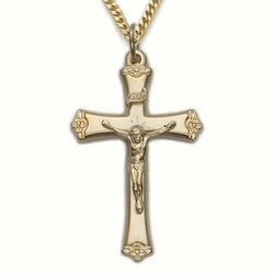 24K Gold Over Sterling Silver Crucifix Necklace in a Budded Ends Design