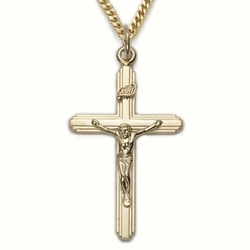 24K Gold Over Sterling Silver Crucifix Necklace in a Multi-Line Design