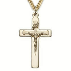 24K Gold Over Sterling Silver Crucifix Necklace in a Nail Design