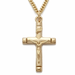 24K Gold Over Sterling Silver Crucifix Necklace in a Satin Finish and Polished Ends Design