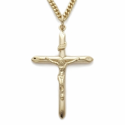 24K Gold Over Sterling Silver Crucifix Necklace in a Tube Design