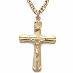 24K Gold Over Sterling Silver Crucifix Necklace in an Engraved Flared Design