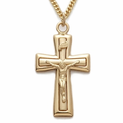 24K Gold Over Sterling Silver Crucifix Necklaces in a Satin Finish