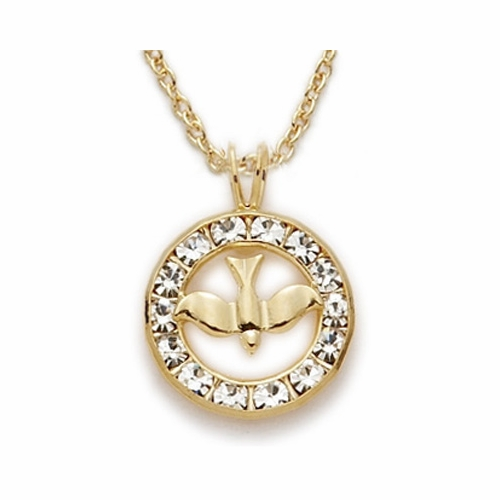 24K Gold Over Sterling Silver Dove Necklace in a Circle Set in Crystal CZ Stones Design