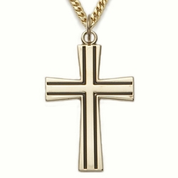 24K Gold over Sterling Silver  Flared Antiqued Cross Necklace