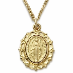 24K Gold Over Sterling Silver Oval Miraculous Medal in a Decorative Border
