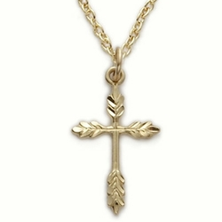 24K Gold Over Sterling Silver Wheat Cross Necklace
