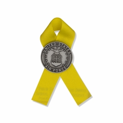 3-1/2 x 1-1/8 Inch Silver Antiqued Finish United States Air Force Insignia Pin with Yellow Ribbon