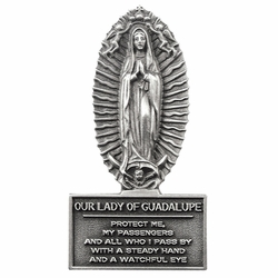 3-1/8 x 1-1/16 Pewter Our Lady of Guadalupe Visor Clip