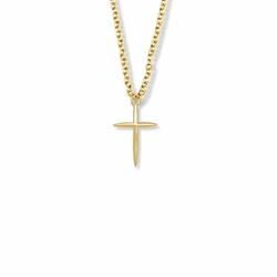 3/4 Inch 14K Gold Fileld Tapered and Pointed Ends Cross Necklace