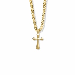 3/4 Inch 14K Gold Filled Beveled Cross Necklace
