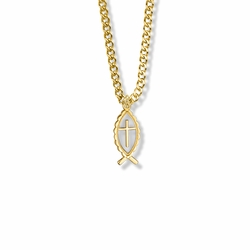 3/4 Inch 14K Gold Filled Fish and Cross Necklace