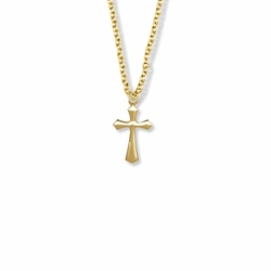 3/4 Inch 14K Gold Over Sterling Silver Beveled Cross Necklace