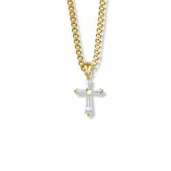 3/4 Inch 14K Gold Over Sterling Silver Cubic Zirconia Baguette Cross Necklace