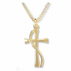 3/4 Inch 14K Gold Over Sterling Silver Flared and Wired Cross Necklace