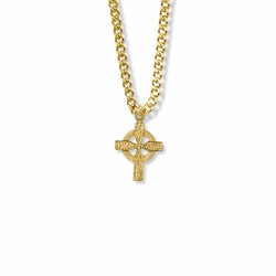 3/4 Inch 14K Gold Over Sterling Silver Hammered Looking Celtic Cross Necklace